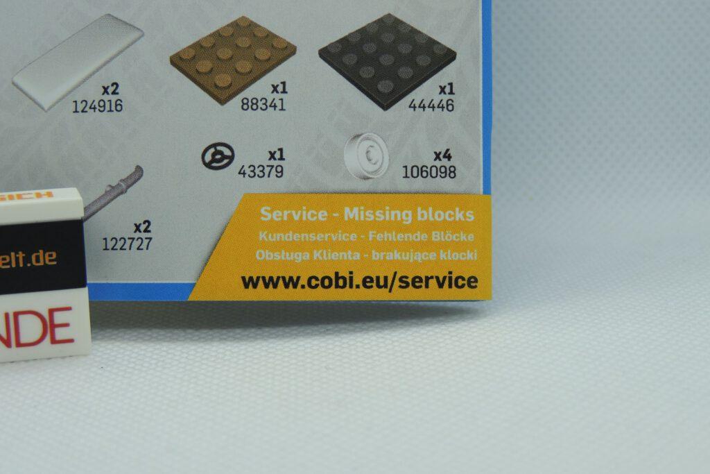 Auch ein ausgezeichneter Hinweis von Cobi für den Service.