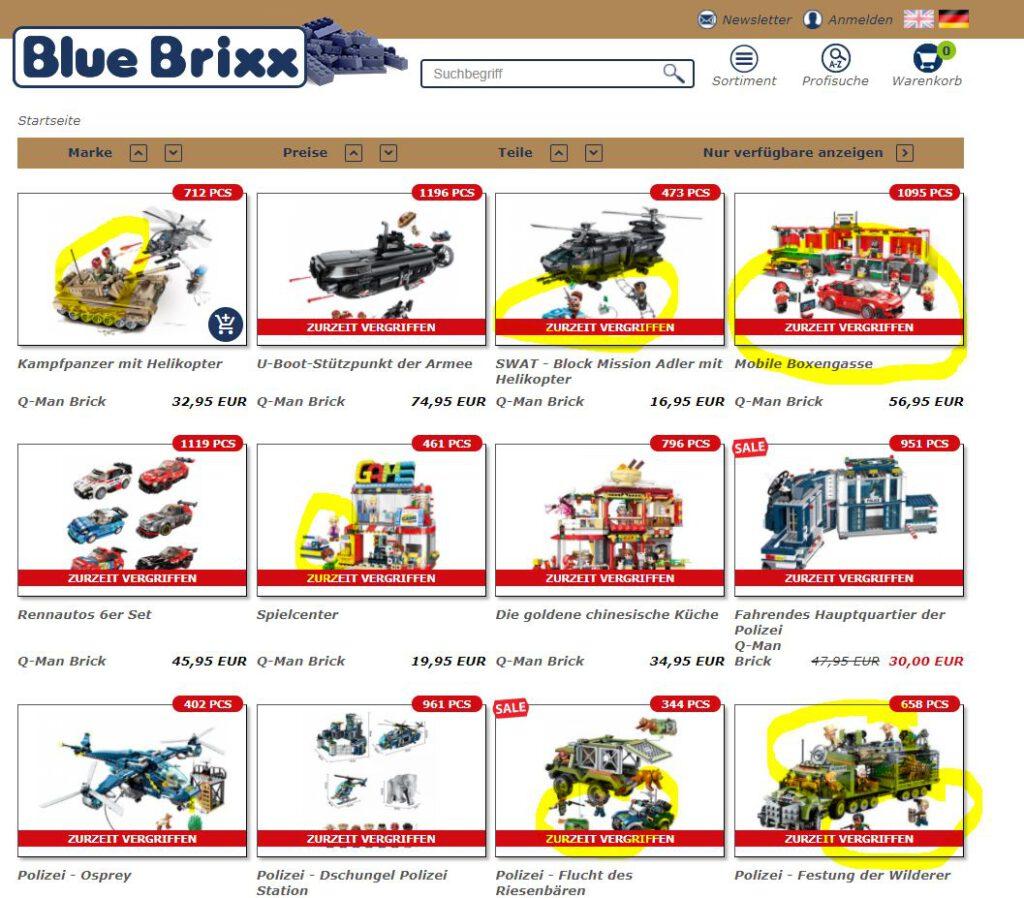 Screenshot Bluebrixx Qman vom 03.02.2021