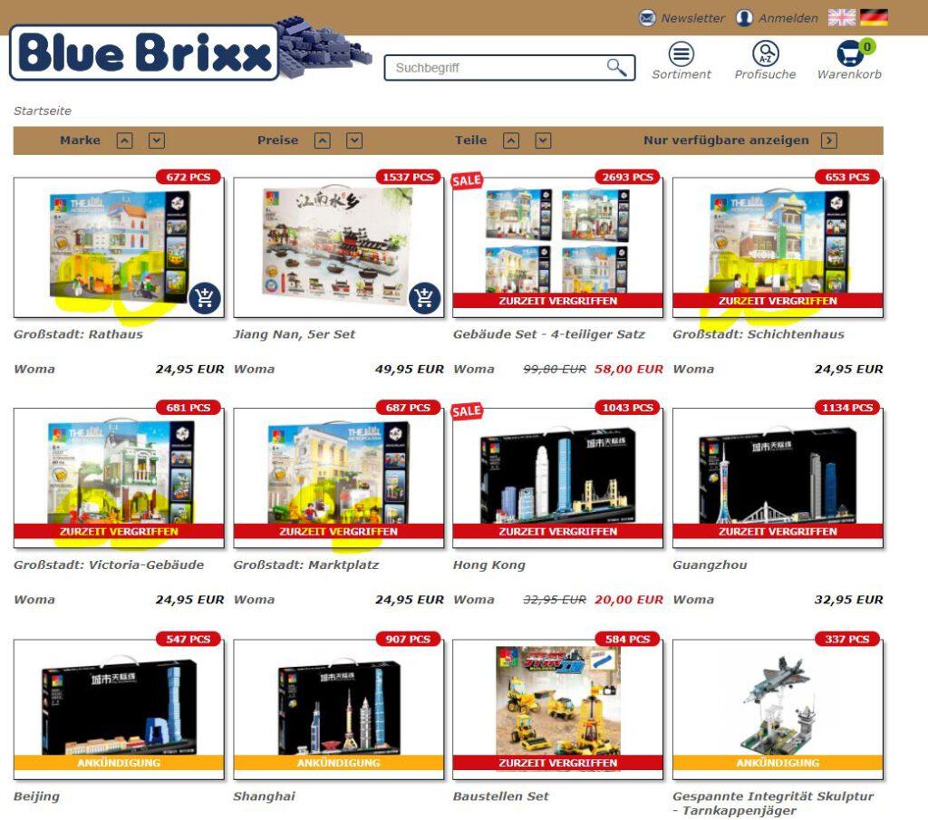 Screenshot Bluebrixx Woma vom 03.02.2021