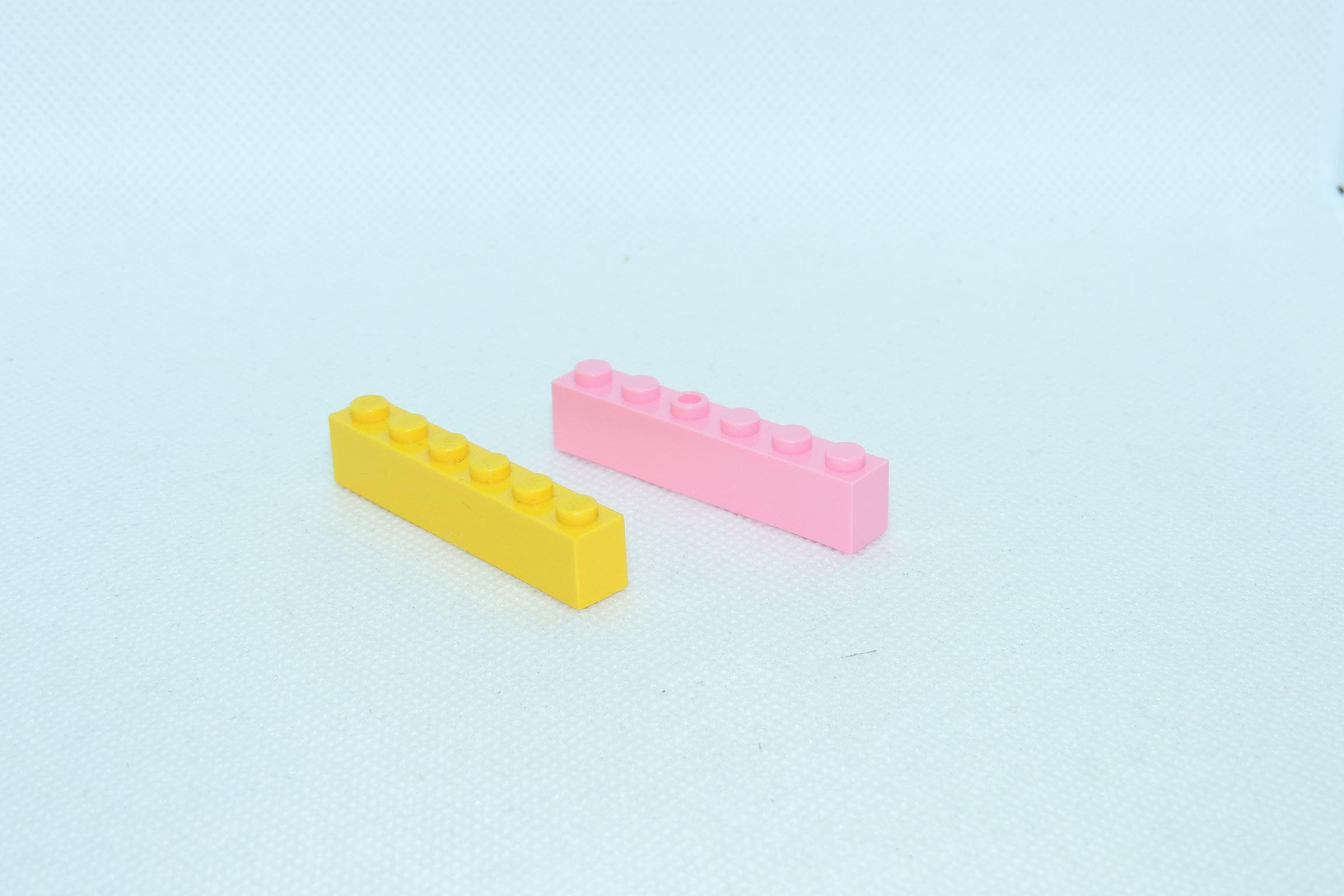 Direkter Vergleich mit einem dänischen Gegenstück, hier 1×6 Bricks.
