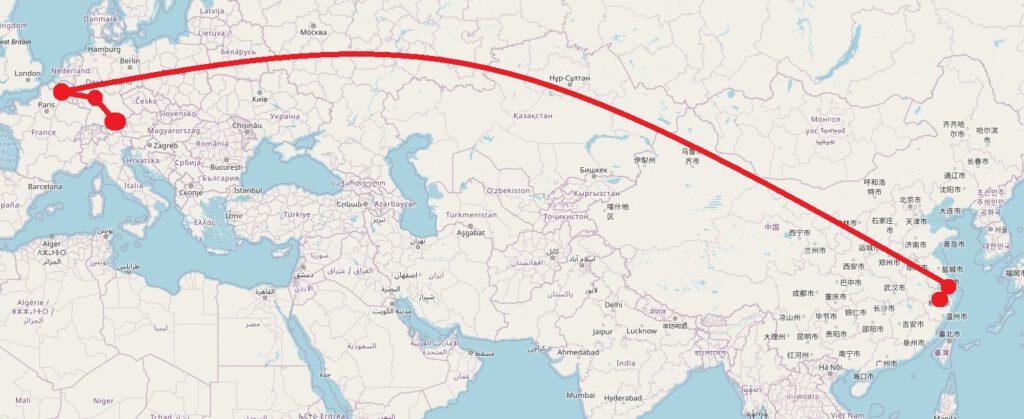 Jinhua - Hangzhou - Brüssel - Frankfurt - München