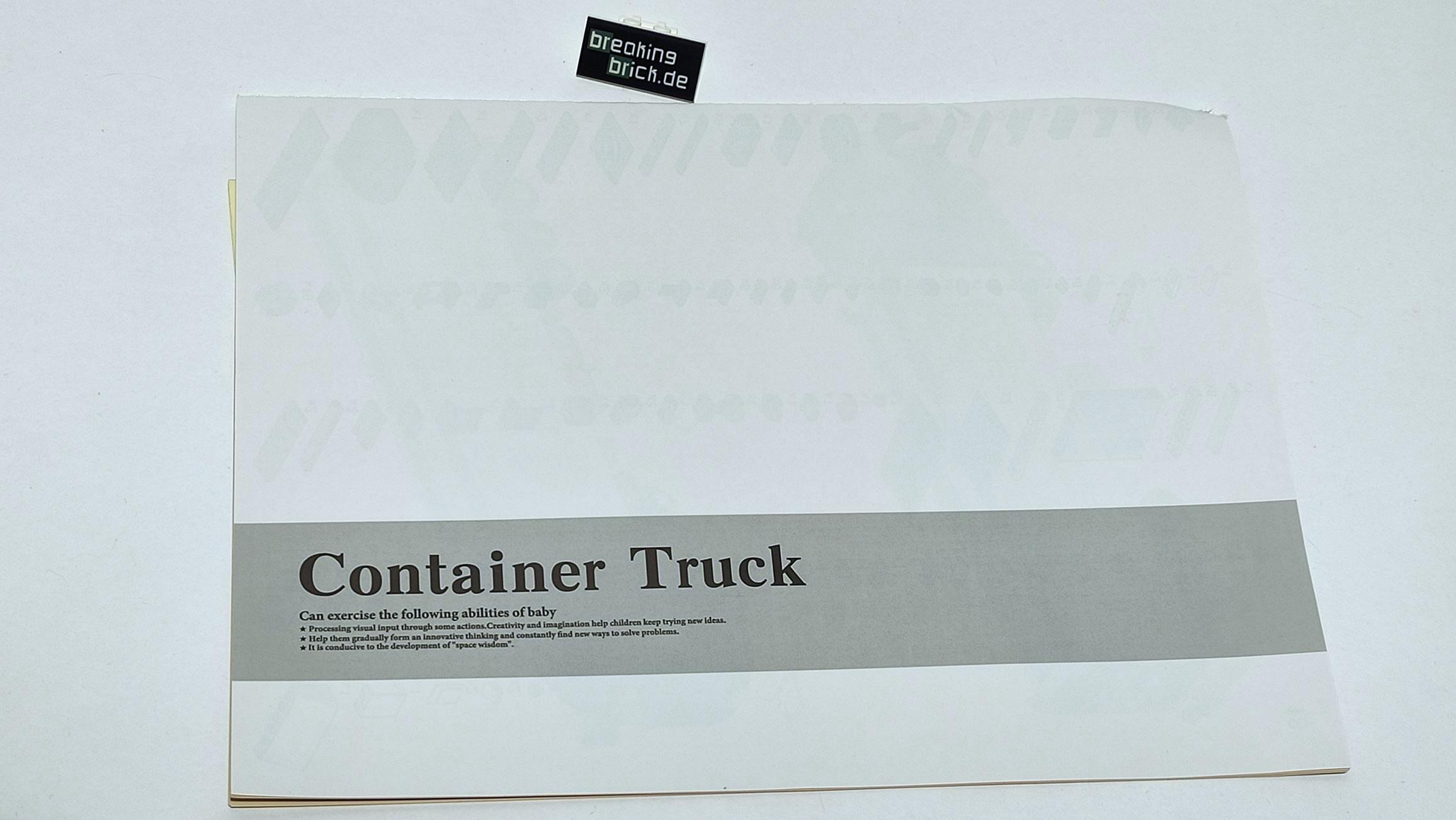 Neun mal Container Truck samt Verpackung. Hier Rückseite.